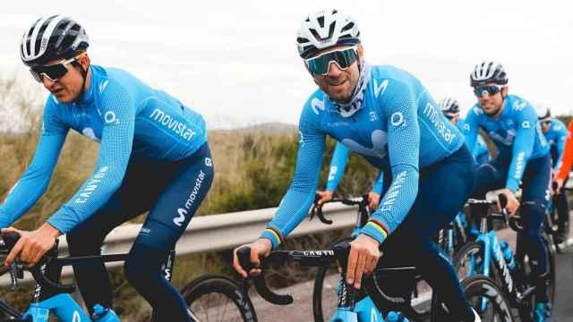 Valverde y Marc Soler en un entrenamiento con el Movistar Team