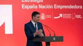 Pedro Sánchez, presidente del Gobierno, durante la presentación de la Estrategia España Nación Emprendedora.