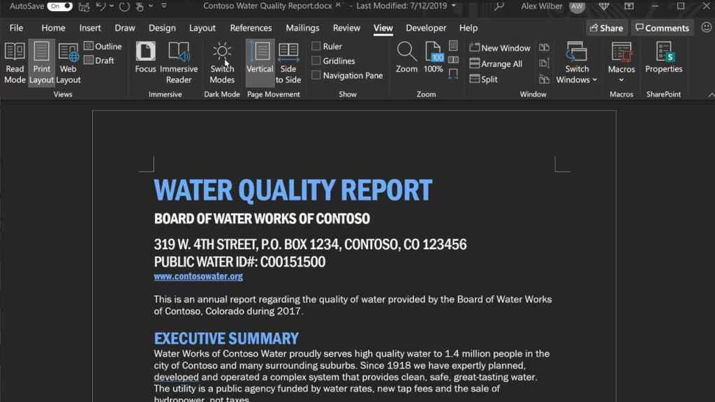 El nuevo modo oscuro de Microsoft Word