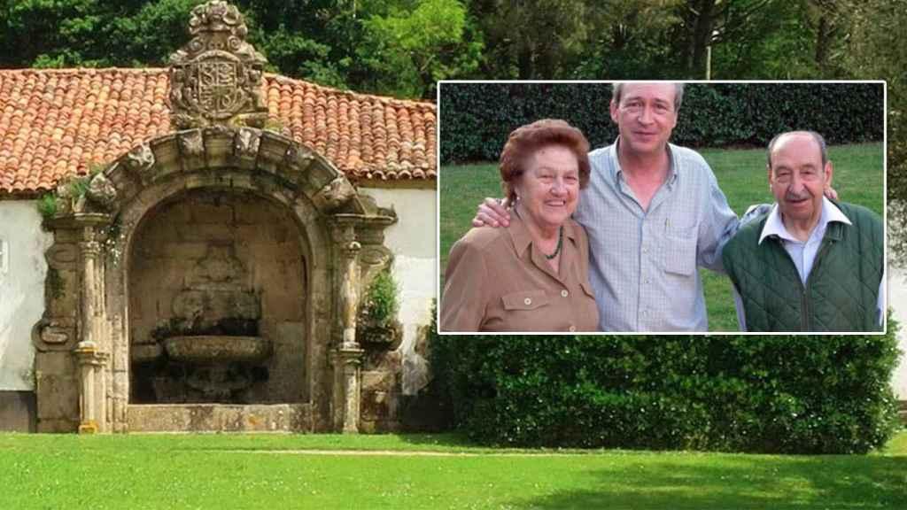 El hijo mayor de Alfonso Armada, en la foto, junto a sus padres. Al fondo, el pazo de Santa Cruz de Rivadulla.