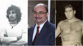 Javier Lambán, de izquierda a derecha: de futbolista, de político y su tío luchador.