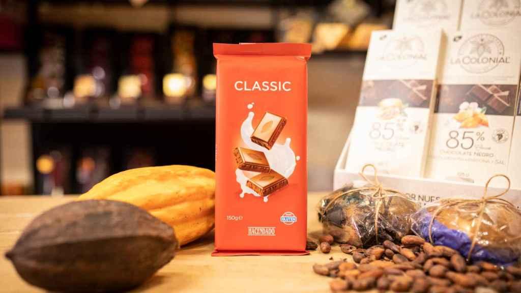 La tableta de chocolate con leche de Hacendado, la marca blanca de Mercadona.