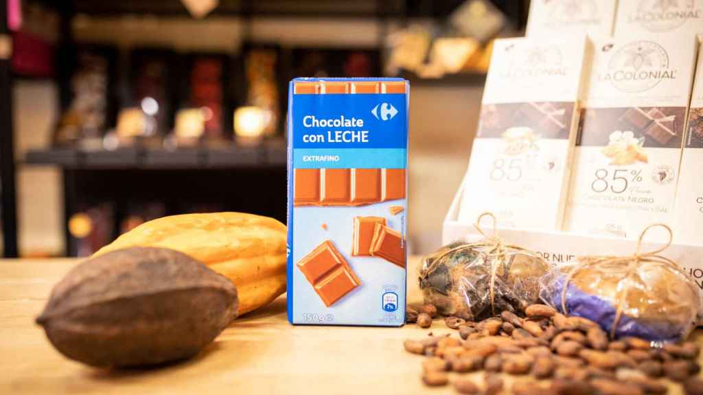 La tableta de chocolate con leche de Carrefour.
