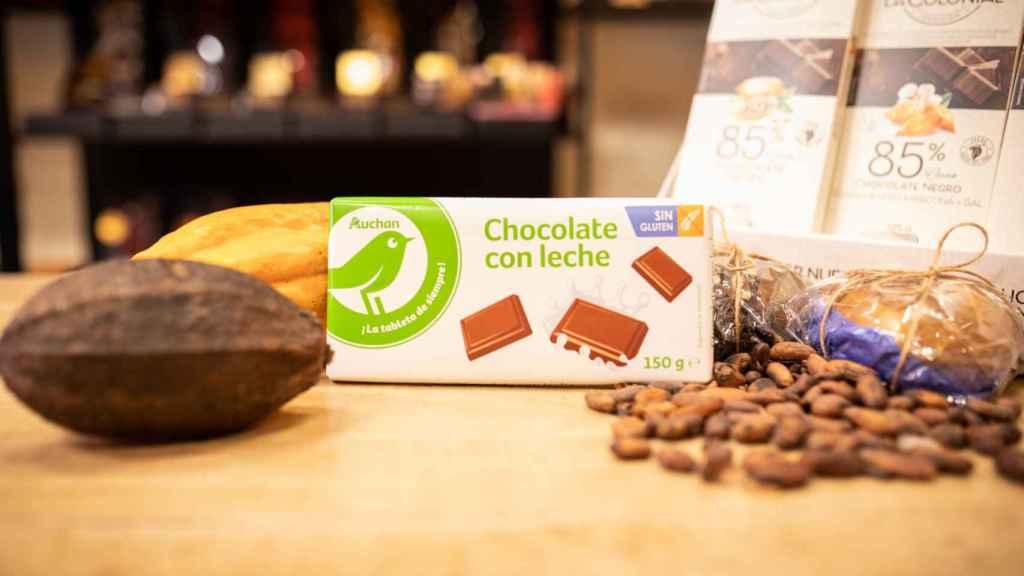 La tableta de chocolate con leche de Auchan, la marca blanca de Alcampo.