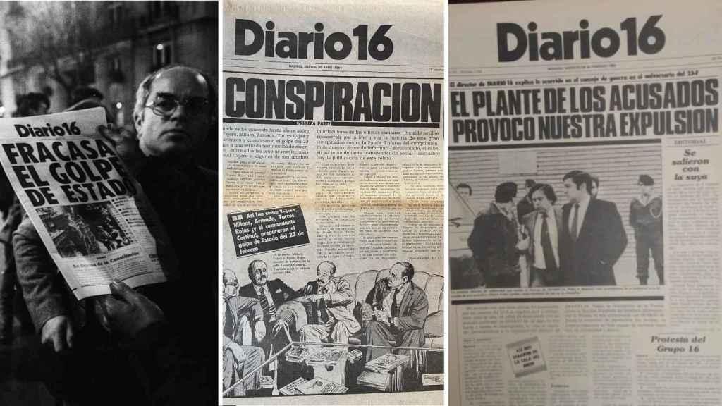 Tres portadas de 'Diario 16' en relación al golpe de Estado del 23-F.