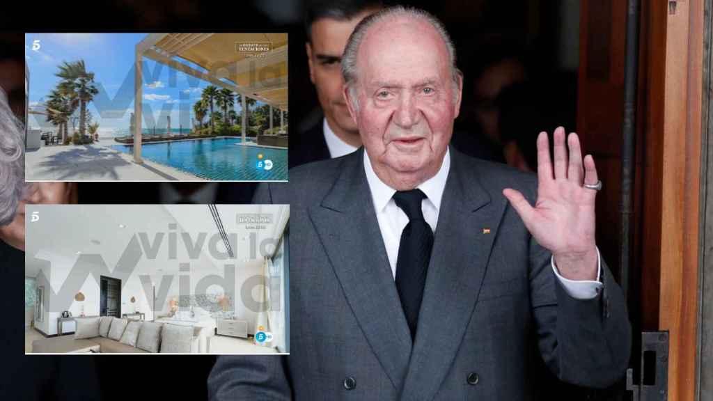El rey emérito Juan Carlos en montaje de JALEOS junto a dos imágenes de la villa donde vive, según el programa de Telecinco.