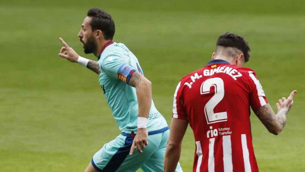 José Luis Morales celebra su gol ante el Atlético de Madrid