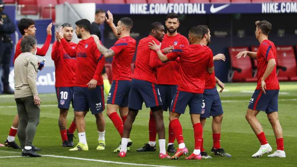 Los jugadores del Atlético de Madrid antes del partido