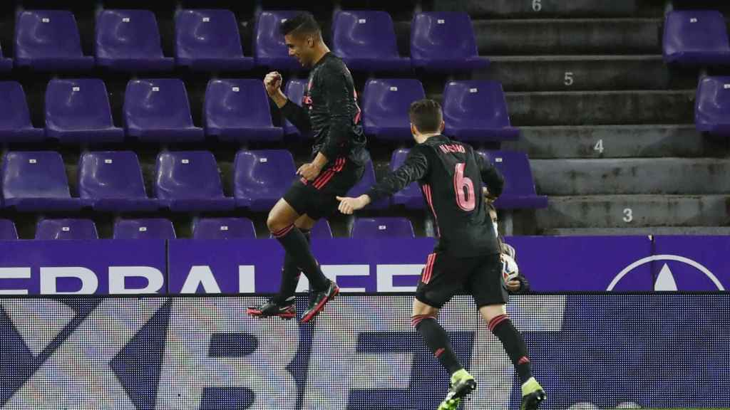 Casemiro celebra su gol al Real Valladolid