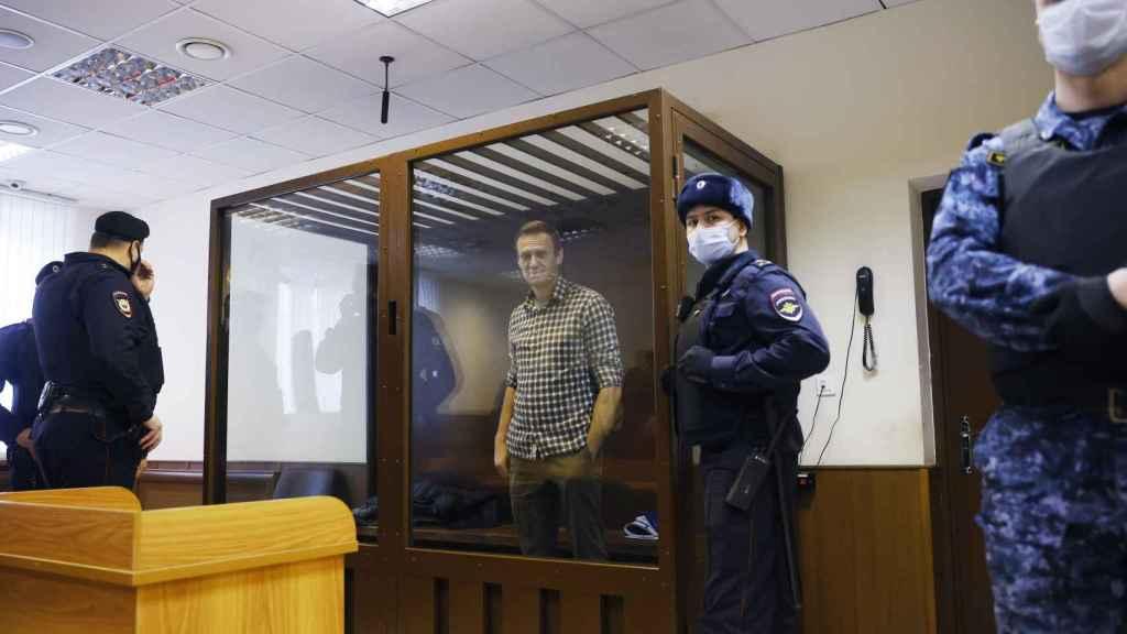 El opositor Navalny en una vista de apelación a su pena de prisión, esta semana.