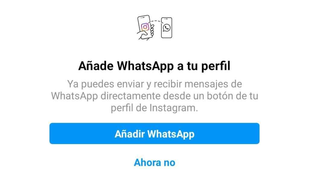 El nuevo mensaje que aparece en Instagram para añadir la cuenta de WhatsApp