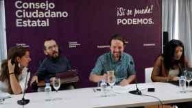 Pablo Iglesias y Pablo Echenique, durante una reunión de los órganos de Podemos.