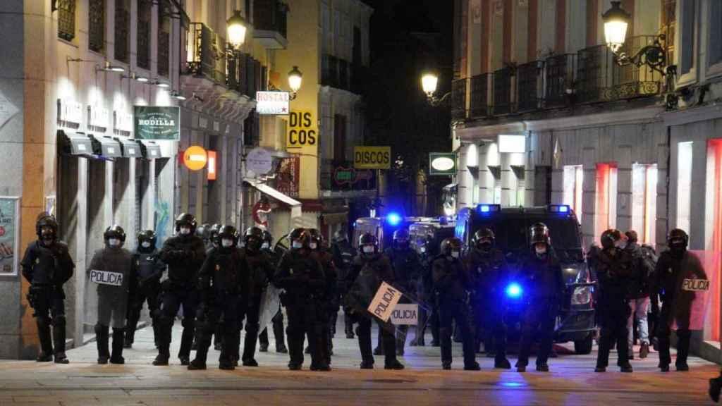 Parte del dispositivo policial desplegado en Madrid.