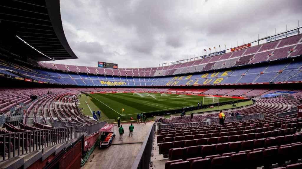El Camp Nou, antes del FC Barcelona - Cádiz de La Liga. Foto: Twitter (@FCBarcelona_es)