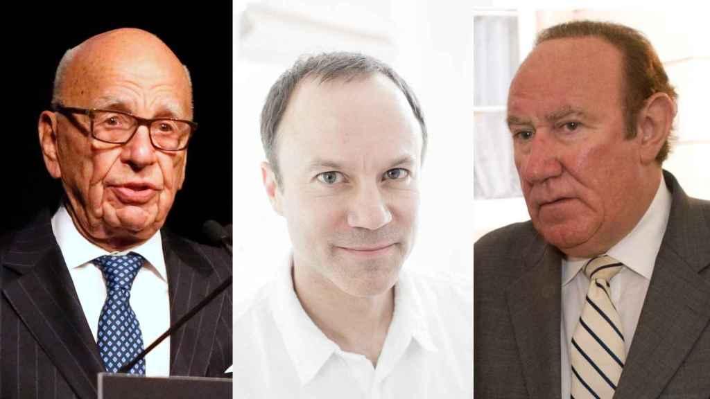 Por orden: Rupert Murdoch; el nuevo director de News UK TV, David Rhodes; y Andrew Neil, que se pasa a GB News.