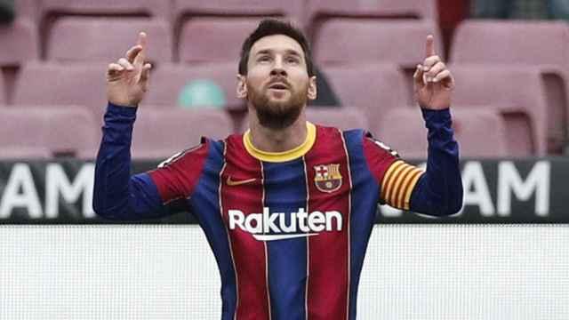 Leo Messi celebra su gol al Cádiz