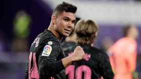 Casemiro celebra su gol ante el Real Valladolid