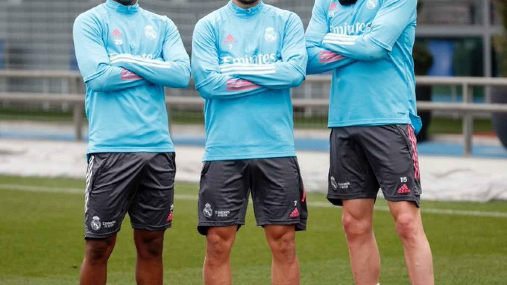 Rodrygo, Eden Hazard y Fede Valverde en un entrenamiento