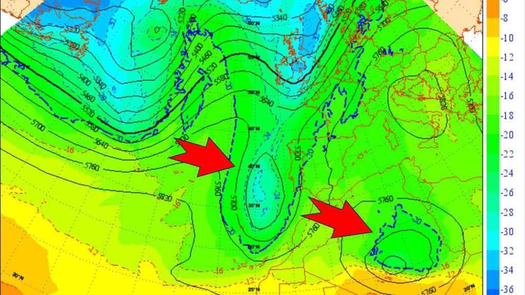 La DANA mediterránea se aleja mientras un nuevo frente llega por el Atlántico. AEMET/SINOBAS
