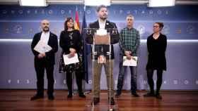 El portavoz de ERC en el Congreso, Gabriel Rufián, lee un manifiesto conjunto con JxCat, EH Bildu, CUP y BNG.