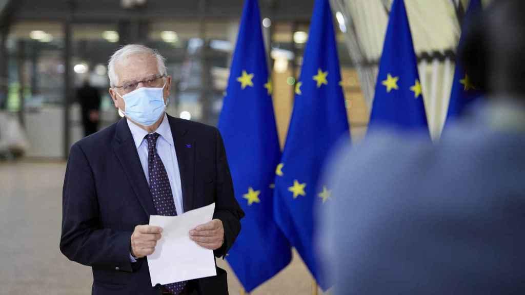 El jefe de la diplomacia de la UE, Josep Borrell, durante la reunión de este lunes