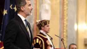 Felipe VI durante su discurso en el Congreso en la Apertura de la XIV Legislatura.