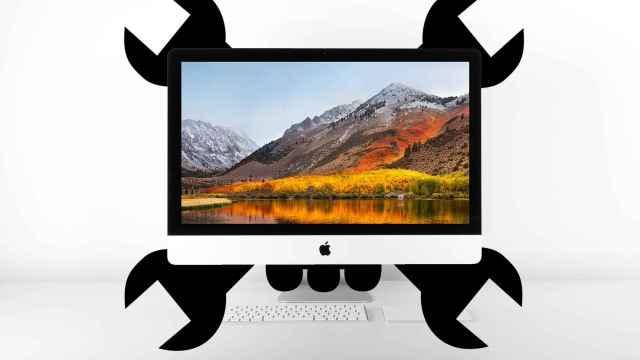 Un iMac con un símbolo de hackeo.