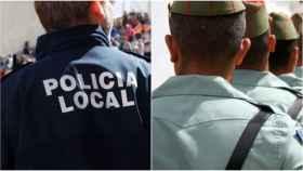 Un policía local y un legionario.