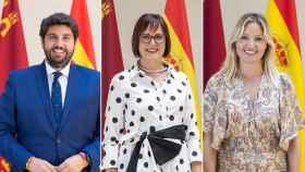 El presidente, Fernando López Miras, la vicepresidenta, Isabel Franco y la portavoz, Ana Martínez Vidal.
