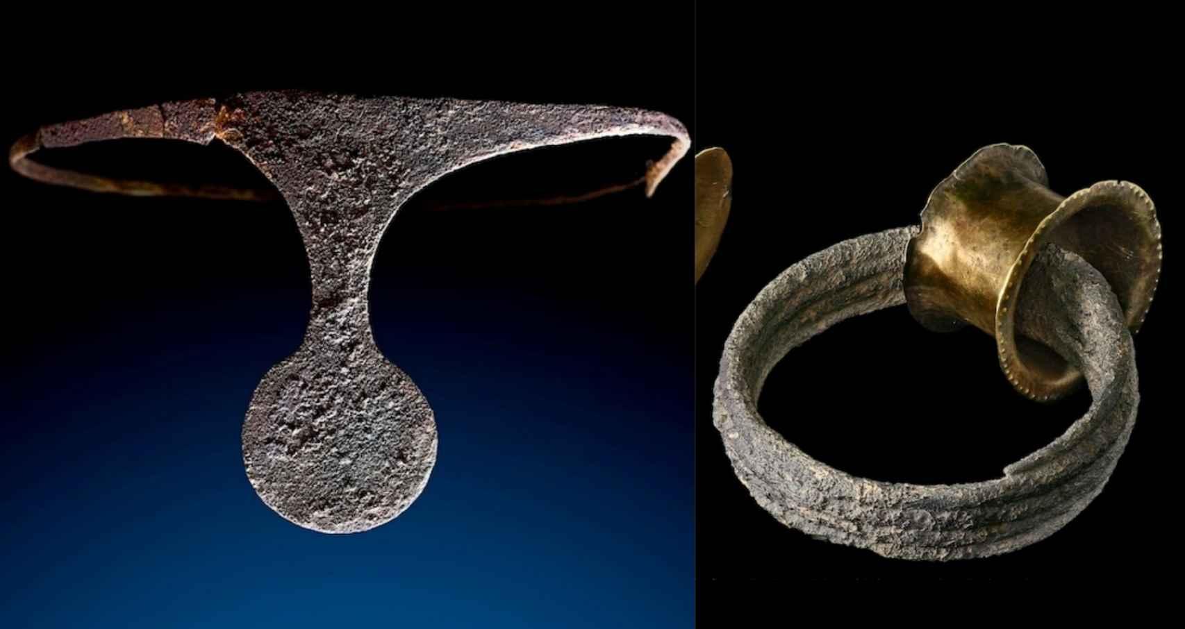 Diadema de plata y brazalete de oro hallados en La Almoloya.