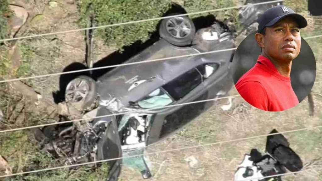 Imagen del coche de Tiger Woods tras el accidente