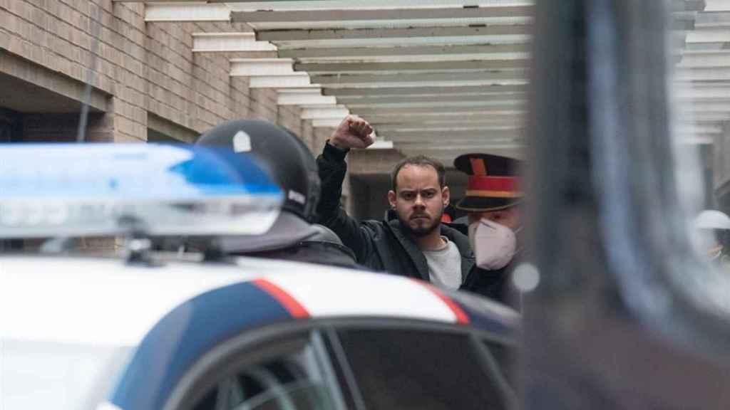 Pablo Hasél, detenido por los Mossos d'Esquadra en el rectorado de la Universitat de Lleida.