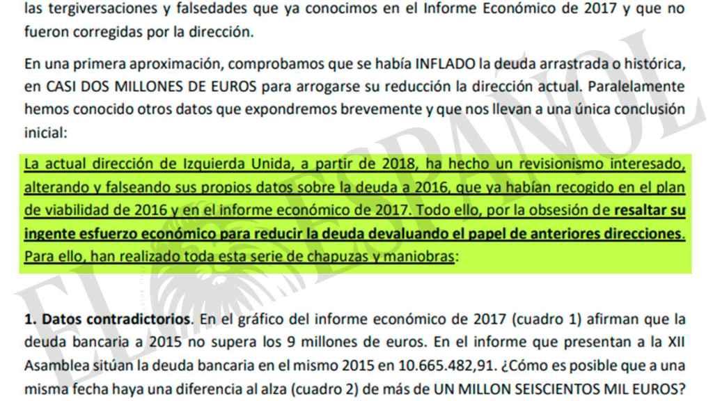 Extracto del documento elaborado por Cayo Lara.
