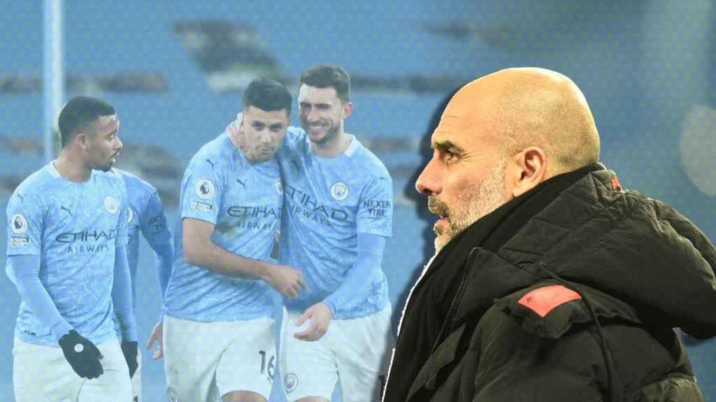 Pep Guardiola y su Manchester City, en un fotomontaje