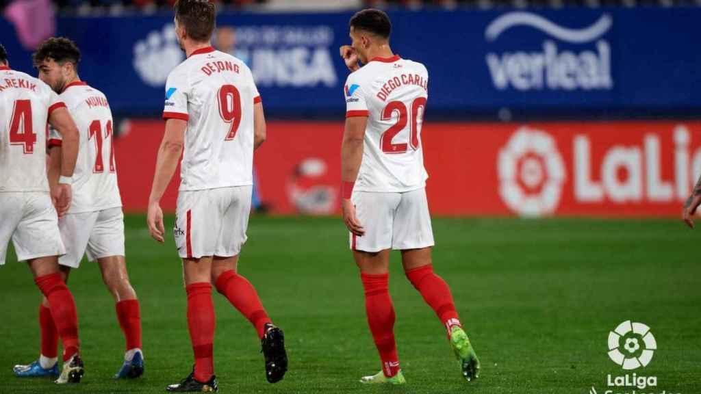 Diego Carlos celebra su gol con el Sevilla a Osasuna en la jornada 24 de La Liga