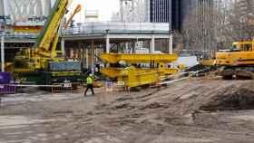 Las piezas que irán sobre los raíles de las cerchas transversales para mover las megacerchas del Santiago Bernabéu