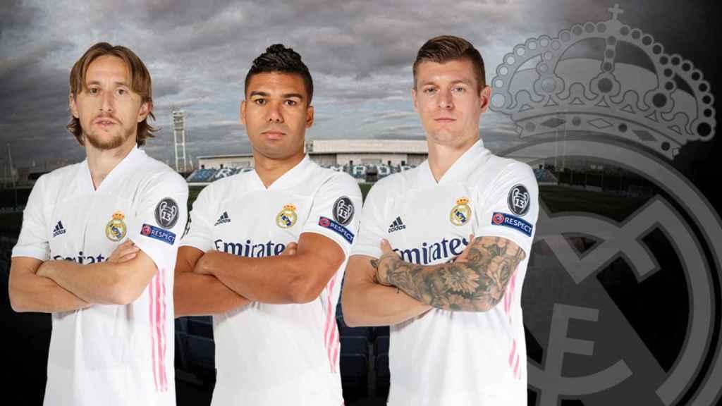 Modric, Casemiro y Kroos, en un fotomontaje