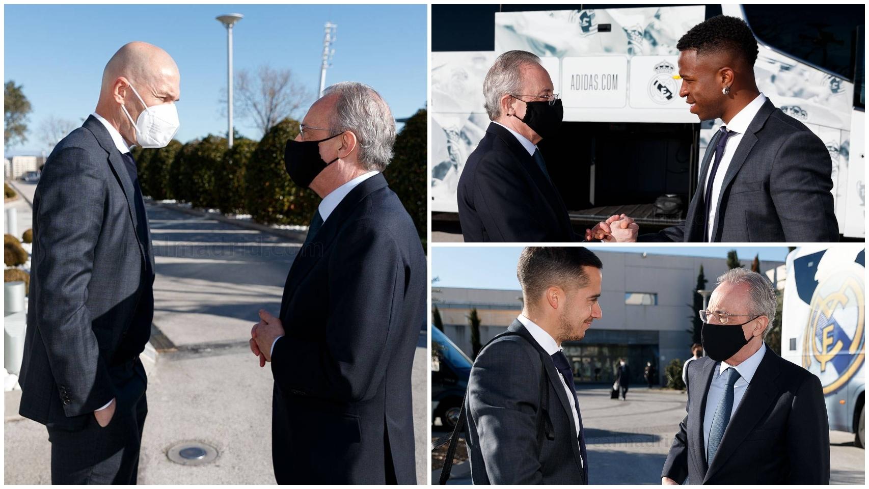 Florentino Pérez despide a la plantilla del Real Madrid antes de viajar a Bérgamo