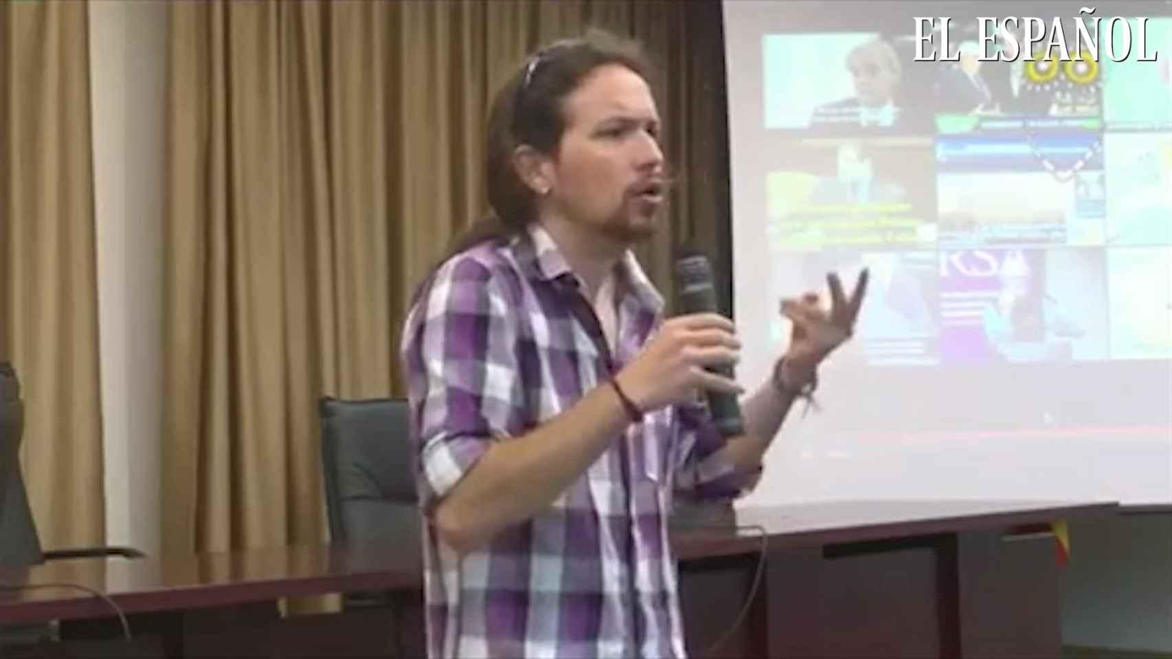Pablo Iglesias en un curso universitario de verano en 2012 en Valencia