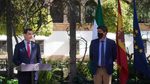 Juanma Moreno y Juan Marín tras el Consejo de Gobierno de Ronda.