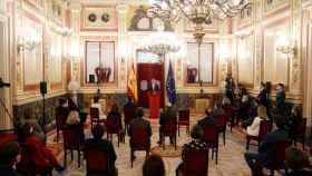 Felipe VI pronuncia su discurso en el acto por el 40 aniversario del 23-F en el Congreso.