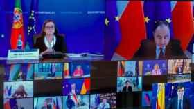 Captura de la videoconferencia de ministros de Asuntos Europeos celebrada este martes