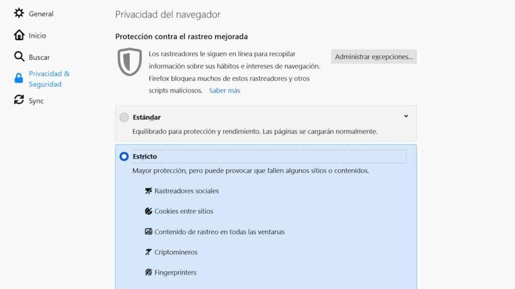La protección de cookies de Firefox se activa en la configuración