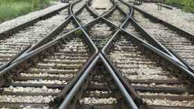 Bifurcación de vías de tren.