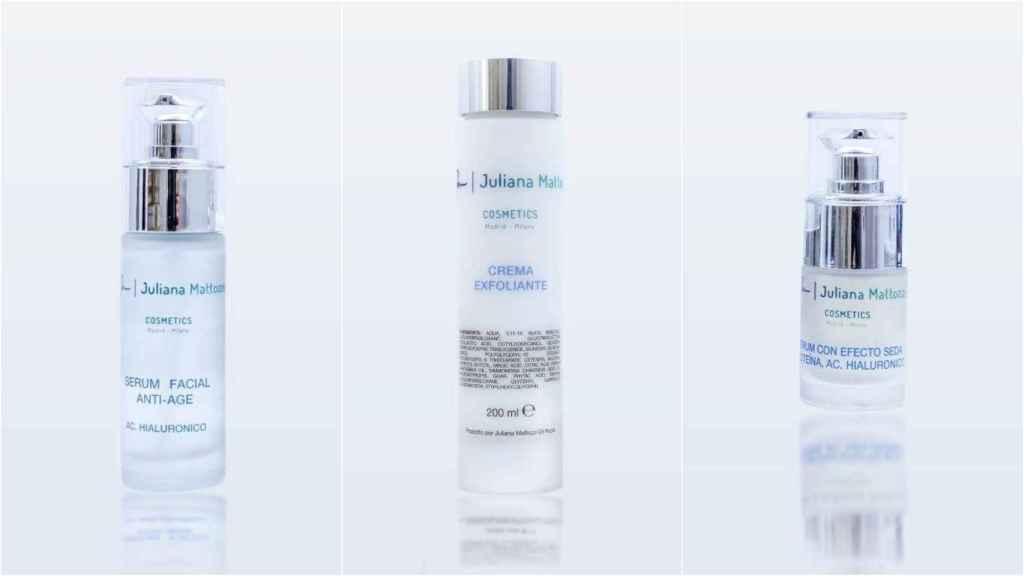Anti-aging facial serum, exfoliating cream and silk-effect serum.