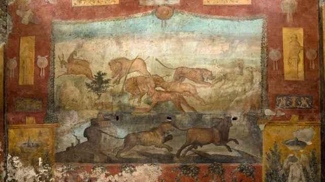 El fresco restaurado en la ciudad de Pompeya.