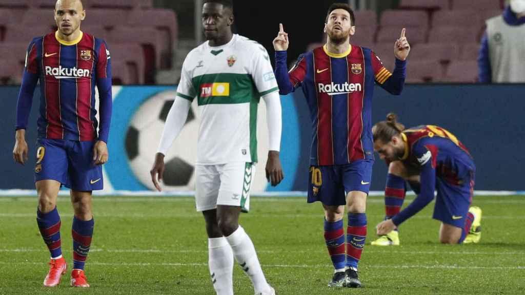 Leo Messi celebra su gol al Elche en Liga