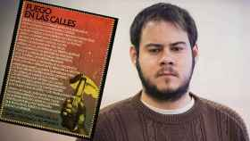 Montaje de Pablo Hasél junto al poema escrito dese prisión.