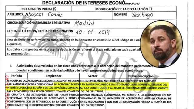 Los 52 diputados de Vox no declaran sus intereses porque sirven al interés superior de España