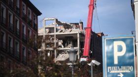 Así quedó el edificio parroquial tras la explosión en la calle Toledo de Madrid.
